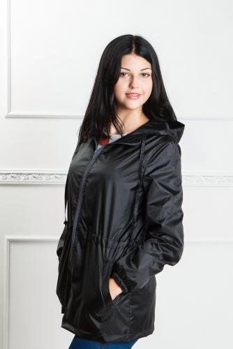 890 990Арт. KG-004 Удлиненная куртка-ветровка с капюшоном,цвет-черный
