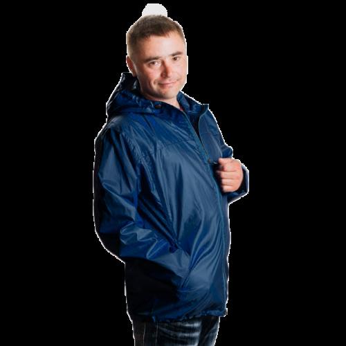 890 1190Арт. KMК. Мужская куртка-ветровка с капюшоном.цвет-синий