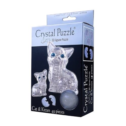 3D Головоломка Кошка серебристая 90126