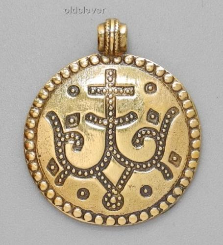 Подвеска Процветший крест,латунь Л2.047