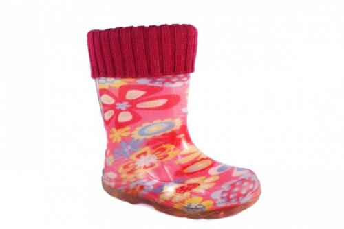 Резиновые сапоги утепленные (розовые с цветочками)