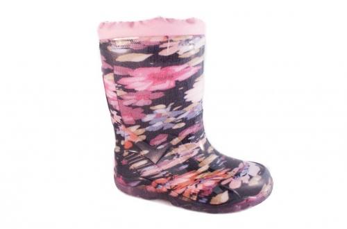 Резиновые сапоги (розовый, черный)