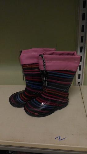 Резиновые сапоги (черный, розовый, полоска)