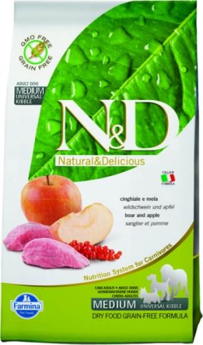 N&D Boar & Apple AdultМясо кабана, яблоко. Полнорационный корм для взрослых собак.