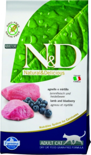 N&D Cat Lamb & Blueberry AdultЯгненок, черника. Полнорационный беззерновой корм для взрослых кошек.