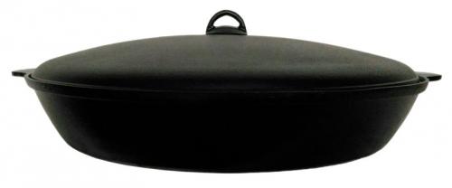 Сковорода чугунная 460/70-2-КАлД с алюминиевой крышкой