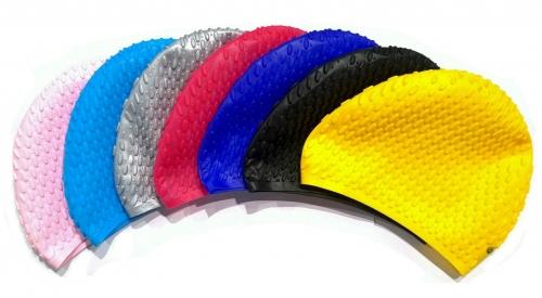 Шапочка для плавания силиконовая длинные волосы рифленая INDIGO 701 SC