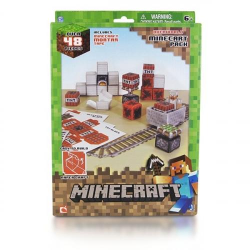 Бумажный конструктор Minecraft Papercraft Игровой мир Вагонетка и ТНТ 48 деталей 16713