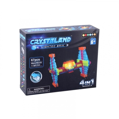 Светящийся конструктор Crystaland Истребитель 4 в 1, 67 деталей SHG006