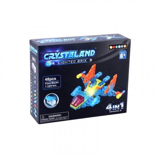 Светящийся конструктор Crystaland Самолет 4 в 1, 48 деталей SHG001