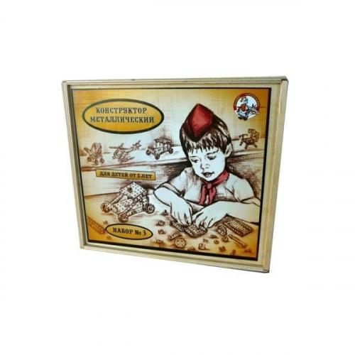 Конструктор металлический Для уроков труда №3 в деревянной упаковке 00982