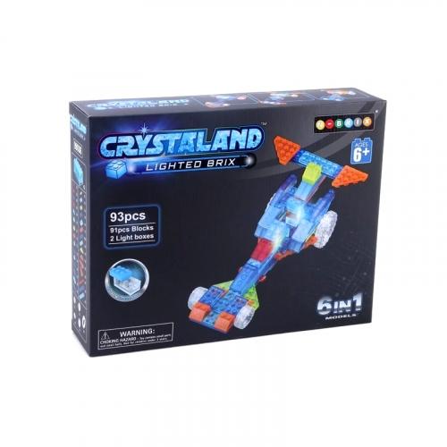 Светящийся конструктор Crystaland Гонка 6 в 1, 93 детали SHG010