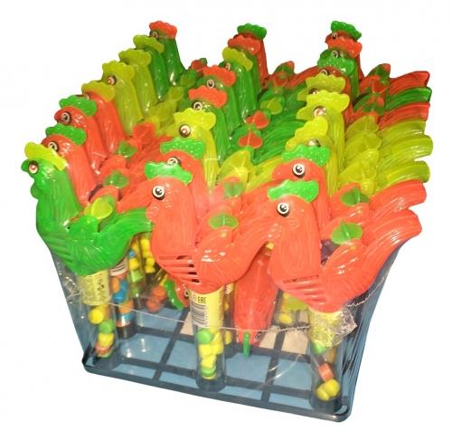 ПЕТУШОК-ЦВЕТНОЙ ГРЕБЕШОК игрушка с конфетами, блок 30 шт. (2г х 30 х 24)