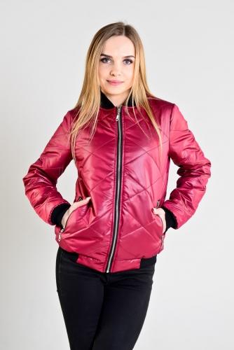 Женская утепленная куртка-бомбер, цвет- бордовый