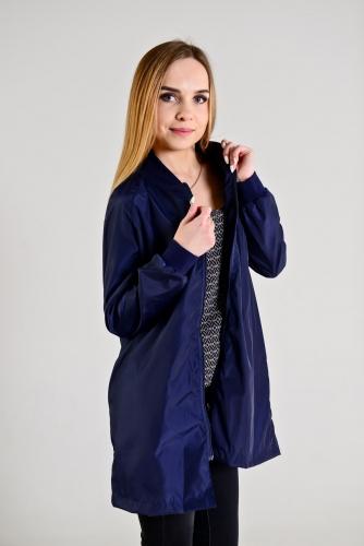 890 1240Удлиненный женский бомбер,цвет-темно-синий