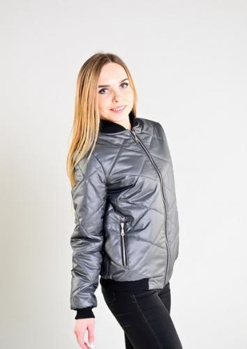 Женская утепленная куртка-бомбер, цвет- серый