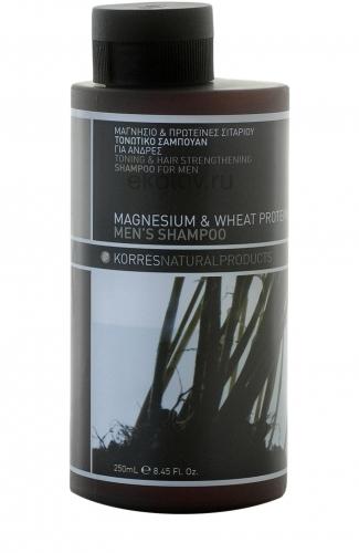 Korres Мужская Линия М Шампунь тонизирующий и укрепляющий для мужчин магний и протеины пшеницы 250 мл