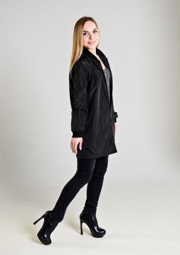 Удлиненный женский бомбер,цвет-черный