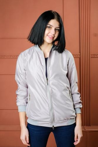 Арт.BG-шелк Женская куртка бомбер, цвет- серый