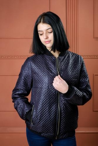 Арт.BGS Женская стеганая куртка - бомбер, цвет- темно-синий