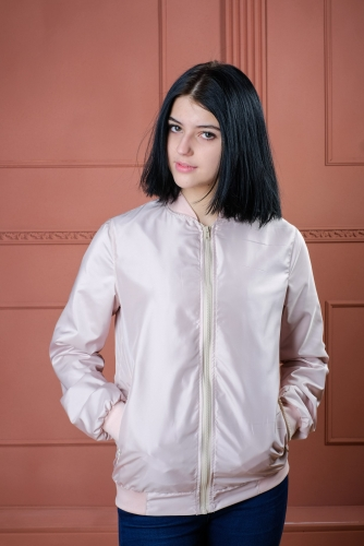 890 1170Арт.BG-шелк Женская куртка бомбер, цвет- розовый жемчуг