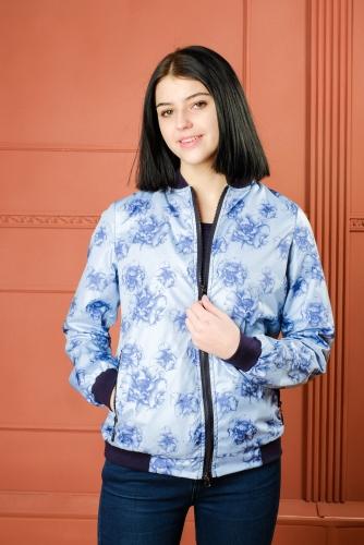 711 1170Арт.BG Женская куртка бомбер, цвет- Floral blue