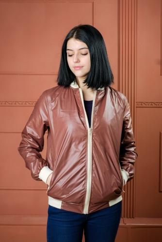 890 1170Арт.BG Женская куртка бомбер, цвет- шоколад