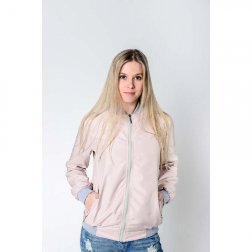 Арт.BG-шелк Женская куртка бомбер, цвет- розовый жемчуг