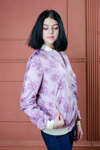 Арт.BG Женская куртка бомбер, цвет- Floral malva