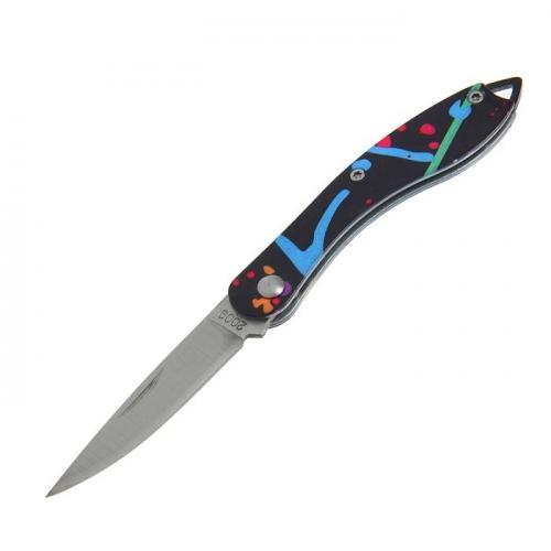 Нож перочинный лезвие drop-point хром 5,5см, рукоять Геометрия цветная, 14см