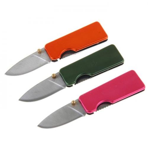 Нож складной неавтоматический с фиксатором, рукоять матовая, цвета МИКС