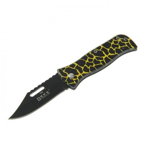 Нож перочинный лезвие drop-point черное с долом 6,3см, рукоять Зебра с креп на рем, фикс, 15см 170