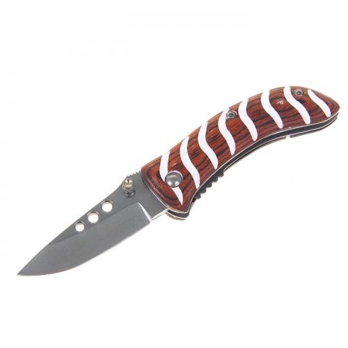 Нож перочинный складной с фиксатором, ручка дерево с полосками белого цвета 14,5*1,7*3 см.