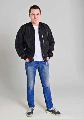 Куртка-бомбер мужская, цвет-черный
