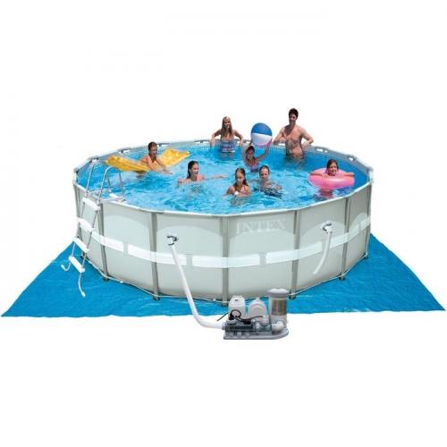 Бассейн каркасный, круглый, 488х122 см, фильтр-насос, лестн., подстилка, тент, скимер 28328 INTEX