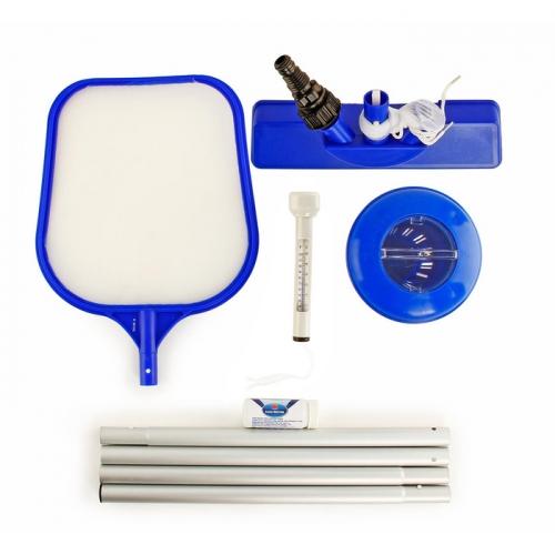 Набор для чистки бассейна, 7 предметов: сачок, щётка, дозатор, термометр, тест-полоски, ремкомлект, ручка 172 см Bestway