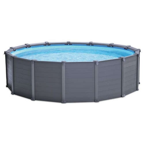Бассейн каркасный Graphite Panel Set, круглый, 478х124 см (песч.фил.насос, лестн,тент, под-ка) 28382 INTEX