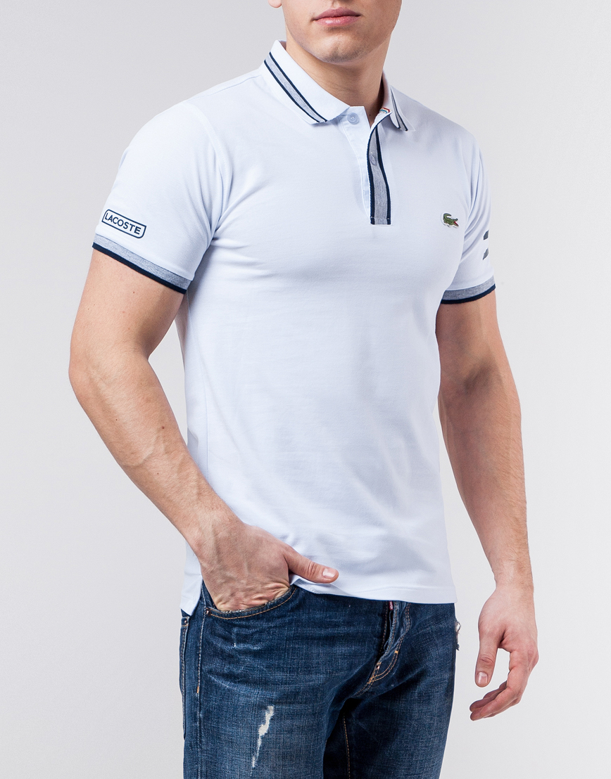 0b9dd26e23fe Бело-серая футболка поло Lacoste молодежная модель 71034