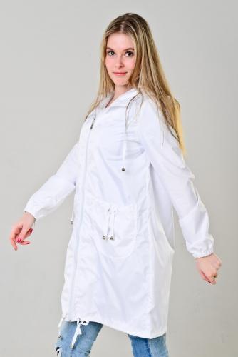 Плащ женский с капюшоном и накладными карманами цвет - белый