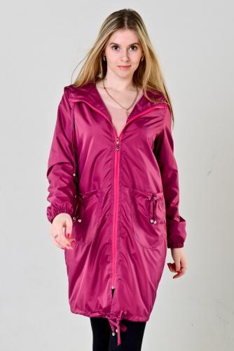 Плащ женский с капюшоном и накладными карманами цвет - темно-розовый