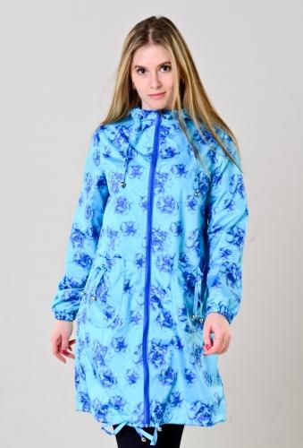 Плащ женский с капюшоном и накладными карманами цвет - floral blue