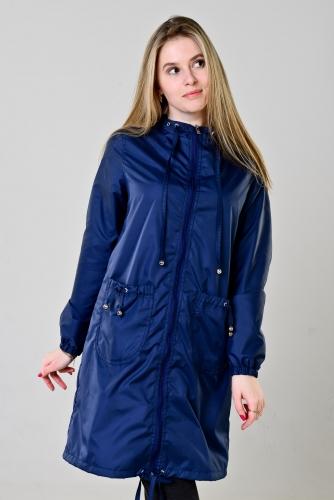 Плащ женский с капюшоном и накладными карманами цвет - синий