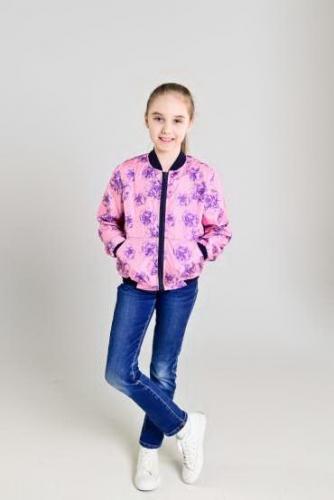 Куртка-бомбер детская, цвет-floral pink