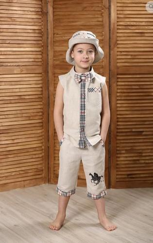 рубашка для мальчика Франт М-403 натуральный+барбери