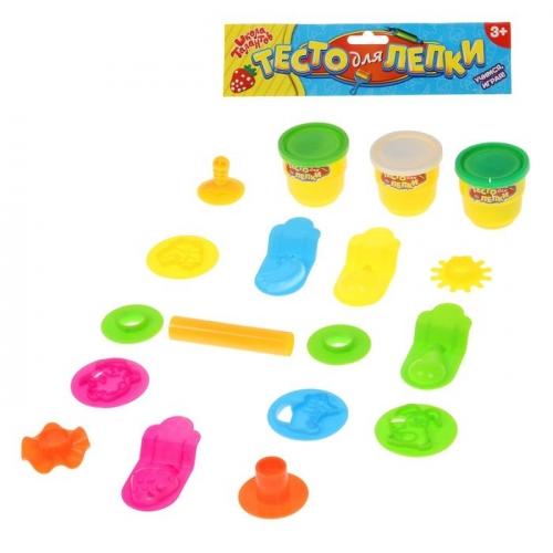 Тесто для лепки 3 цвета по 50 г + 16 предметов, цвета МИКС