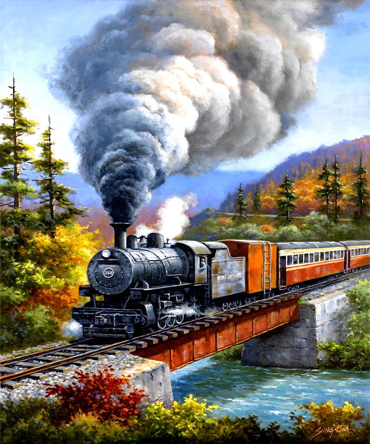 Открытка поезда