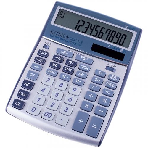 Калькулятор настольный Citizen CCC-112, 12 разр., двойное питание, 155*207*33мм, серебристый