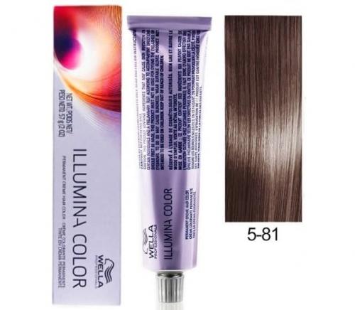 Wella Professional Illumina Color 5/81 cветло-коричневый жемчужный пепельный 60 мл