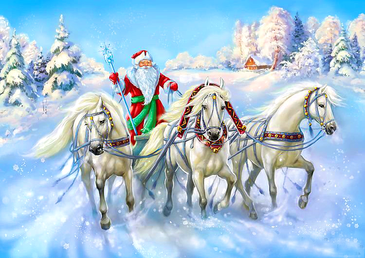 Дед мороз на тройке лошадей картинки, день