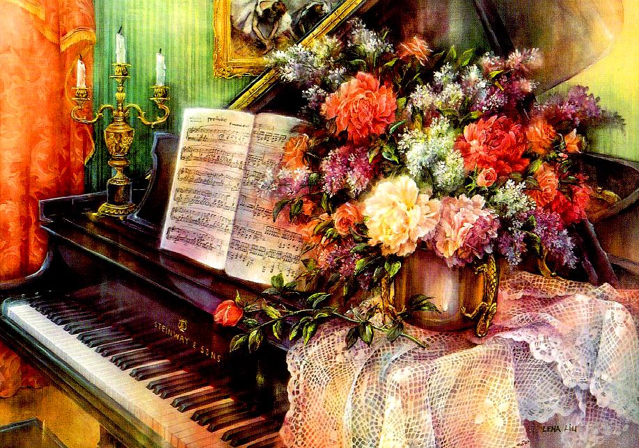 Открытка рояль и цветы, признание
